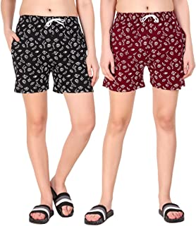 Kiba Retail Casual Wear Cotton Fabric Check Printed Shorts Multi-Colored for Women/Girls Size (26, 28, 30, 32, 34) Pack of...