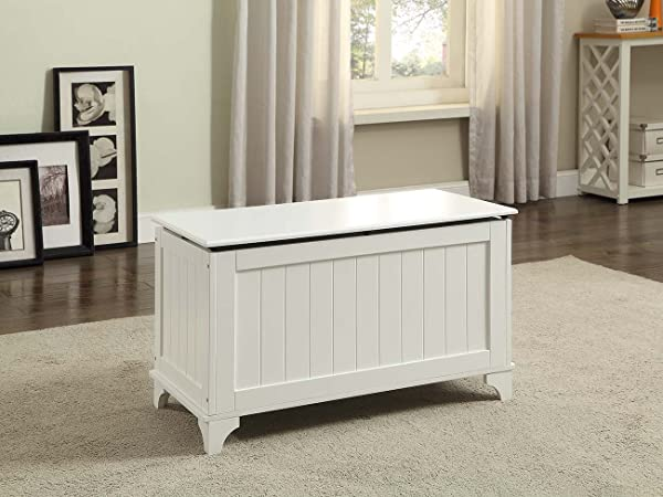 White Finish Toy Blanket Storage Chest Trunk Box Bench