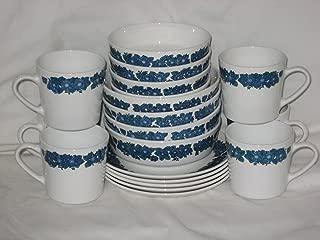19 Piece Set - Corning Centura Evening Song Blue & Green Flowers Dessert Bowls, Cereal Bowls, Cups & Desert Sandwich Plates