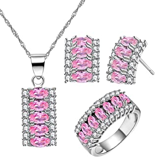 Uloveido Platinum Plated Oval Cut Cubic Zirconia 7 Stones Necklace Earrings and Ring Half Moon Party Jewelry Set T502