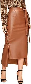 Women's Belted Button Asymmetrical Hem Leather Skirt