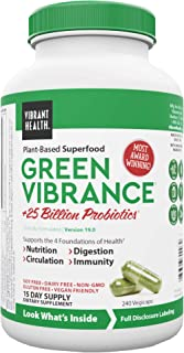 Vibrant Health, Green Vibrance, Vegan Friendly Superfood Capsules with Over 70 Ingredients, Vegan Friendly, 240 Capsules (...
