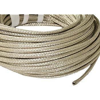 Aerzetix, guaina isolante per cavi elettrici, in rame intrecciato schermato, lunghezza 5 metri, diametro interno 6-10 mm, 24 x 8 x 0,15 mm, modello C17635
