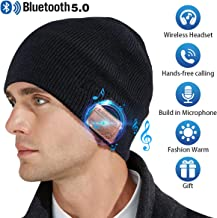 Bluetooth Beanie Hat,Mens Gifts V5.0 Unisex Wireless Knit Cap Winter Warm Hats for Running Outdoor Sports with Stereo Headphone Speaker Unique Christmas Tech Gifts for Men Women(Black)