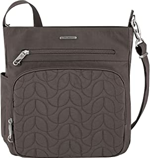 Anti-Theft Quilted North South Bag - Medium Nylon Crossbody for Travel & Everyday - (Smoke/Teal Interior)