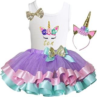 Girls Lavender Pastel Satin Trimmed Tutu & Birthday Unicorn Tee