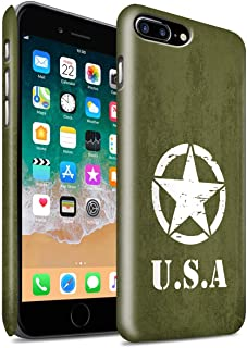 Matte Phone Case for Apple iPhone 8 Plus USA America Pride US Army Green WW2 Tank Style Design Matt Hard Snap On Cover
