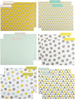 File Folders - 12-Pack Decorative File Folders, 6 Geometric Colorful File Folders, Designer File Folders - Letter Size 1/3 Cut 1/2 inch Top Memory Tab, 11.5 x 9.5 inches