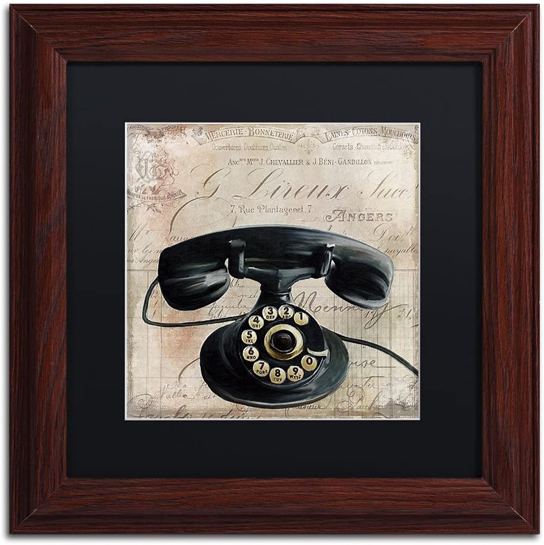 Trademark Fine Art Call Waiting II by color Bakery, Black Matte, Wood Frame 11x11, Wall Art