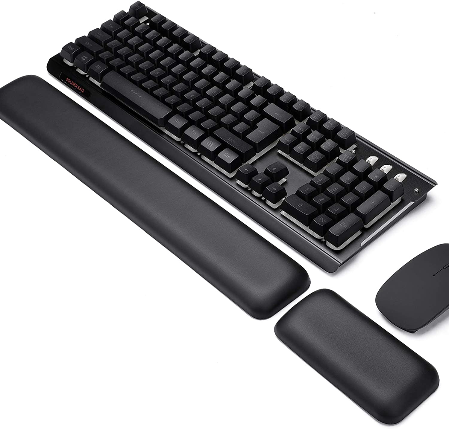 Leather-Gel Aelfox Keyboard Wrist Rest and Mouse Wrist Rest Set, Ergonomic Wrist Support Mouse Pad Wrist Pad Relieve Wrist Pain for Full Size Gaming Keyboard and Mouse, Laptop, Computer, Home, Office