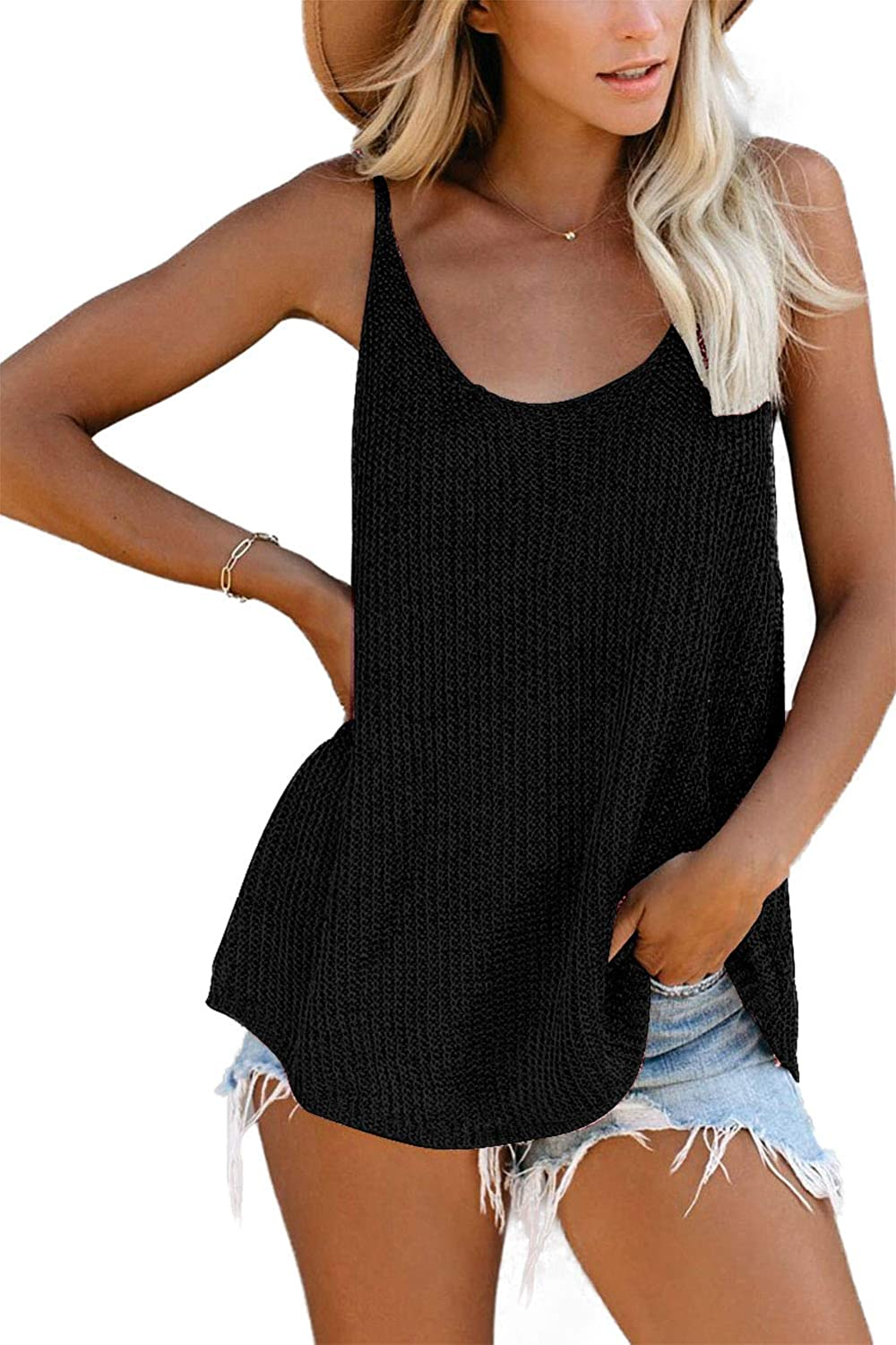 KINGFEN Womens Knit Tank Tops Summer Flowy Casual Loose Fit Sleeveless Sweaters