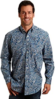 1 Pkt Mens Blue 100% Cotton Indigo Paisley BD L/S Shirt