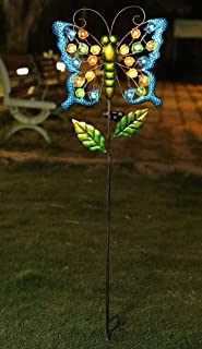 "WSgift 39"" Solar Stake Butterfly, Solar Powered Garden Outdoor Stake Lights Metal Butterfly 22 Pcs Warm White Sea Glass LE..."