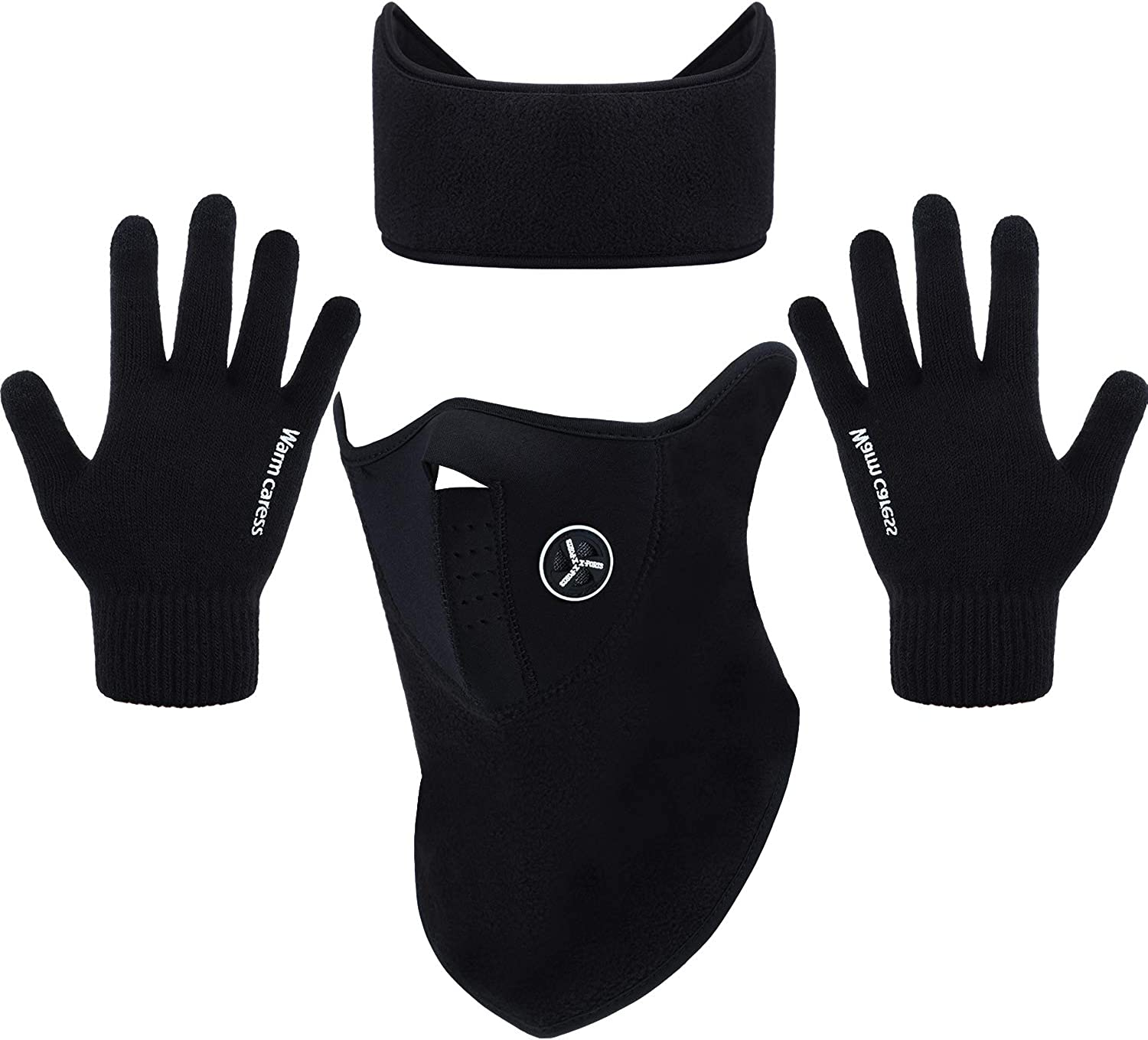 3 Pieces Winter Face Mask Ear Warmer Headband Touch Screen Gloves for Cold Winter