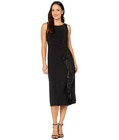 LAUREN Ralph Lauren Petite Lace-Trim Jersey Dress (Black) Women