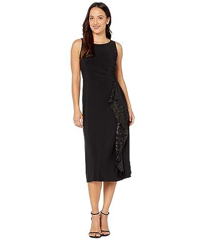 LAUREN Ralph Lauren Petite Lace-Trim Jersey Dress (Black) Women