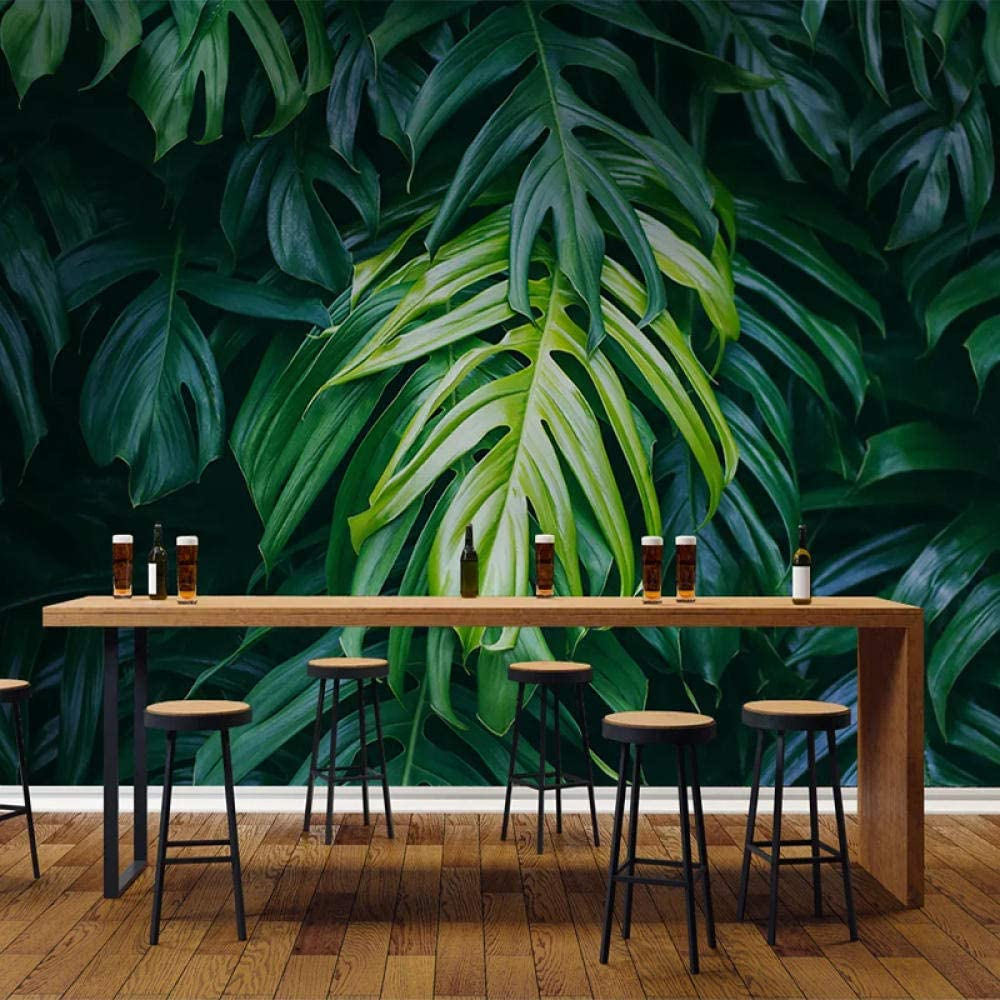 Custom Any 2021 model Size Green Leaves 3D Kitchen for Limited time cheap sale Wallpaper Livi Photo