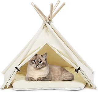 GYMAX Husdjur tipi-tält, kanvas hund lekhus med stabil struktur och spännen, hopfällbar katt-Tipi kennels för inomhus och ...