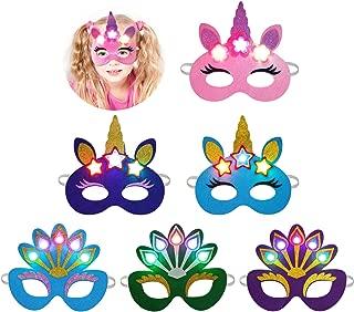 Aniwon Halloween Mask LED, 6PCS Light Up Felt Mask Cartoon Unicorn Peacock Eye Mask Animal Mask Cute Costume Mask Christmas Carnival Party Favors Supplies for Kids Adults