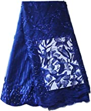 African Lace Fabric Nigerian French Lace Net Fabric Embroidered Fabric for Wedding Party ZS728(Royal Blue)