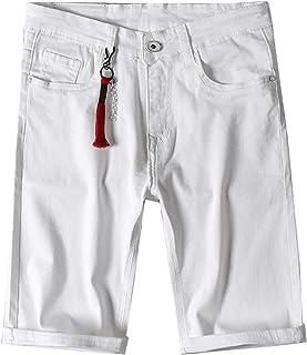 Pantalones Cortos de Mezclilla para Hombre Pantalones Cortos de algodón de Verano Informales Ajustados de Color sólido con...