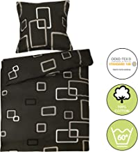 Beautissu Renforcé Bettwäsche 135x200 cm Bezug Set Noa Bettdecken Bezug & Kissenbezug 80x80 cm - Bettbezug mit Reißverschluss und 100% Baumwolle