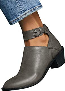FISACE Womens Ankle Boots Buckle Strap Zipper Cut Out Leather Stitch Chunky Booties