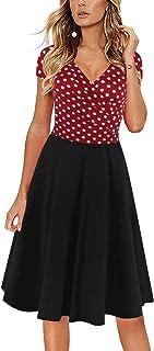 فستان نسائي من oxiuly برقبة على شكل حرف V ذو أكمام قصيرة وجيوب عادية بلون الشاي المتأرجح OX296