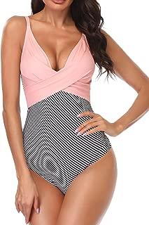 Women's Monokini Front Cross One Piece Swimsuits Tummy Control Swimwear