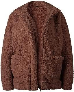 Ardorlove 2019 Women's Fashion Long Sleeve Lapel Zip Up Faux Shearling Shaggy Oversized Coat Jacket with Pockets Warm Winter