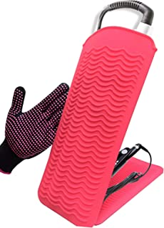 """Curling Iron Mat, Heat Resistant Mat Pouch with Heat Resistant Glove for Hair Straightener, Flat Irons, 8.7""""x5.2"""" Silicone..."""