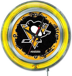 Holland Bar Stool Co. Pittsburgh Penguins HBS Neon Yellow Hockey Battery Powered Wall Clock (15