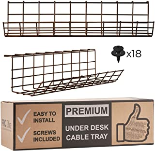$24 » Under Desk Cable Management Tray - Cable Organizer for Wire Management. Metal Wire Cable Tray for Office and Home (Brown - Set of 2x 17'')