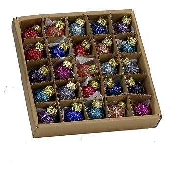 Kurt S. Adler 0.78-Inch Glitter Glass Ball, 25 Piece Set Ornaments, Multi, Count