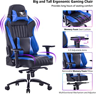 VON RACER Big and Tall 400lb Memory Foam Gaming Chair-Adjustable Tilt, Angle and 3D Arms Ergonomic High-Back Leather Racing Executive Computer Desk Office Metal Base (Blue)