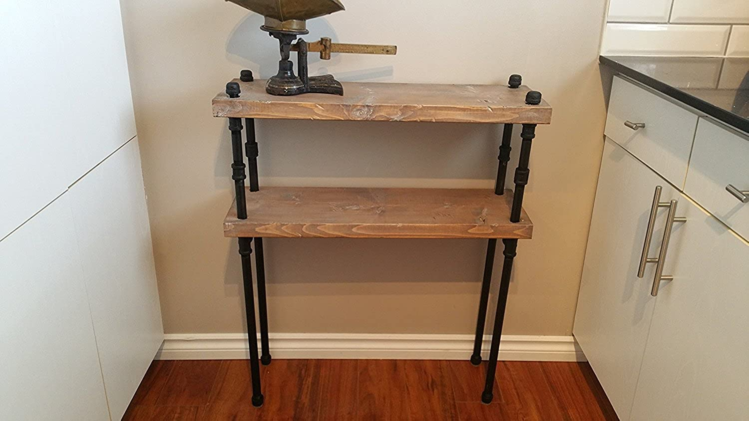 Rustic Reclaimed Wood Pipe Shelf