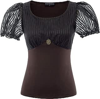Lady Lace Up Gothic Blouse Renaissance Steampunk Short Sleeve Top