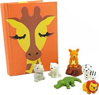 Kawaii Giraffe Pocket Notebook Journal Diary with (7) Safari Erasers - Perfect 8 Piece Set