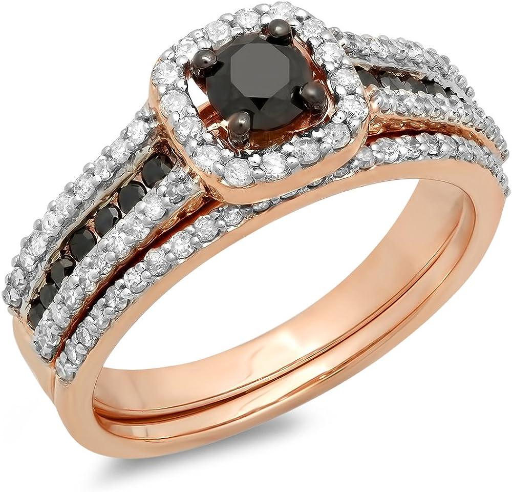 Dazzlingrock Collection 1.00 Carat (ctw) 14K Gold Round Black and White Diamond Ladies Bridal Halo Engagement Ring Set 1 CT