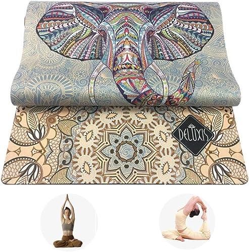 DUBAOBAO Tapis de Yoga Tapis de gymnastique 183x61cm épaissi 3,5 mm Durable et antidérapant, Motif éléphant + Caoutchouc Naturel + Surface en Daim