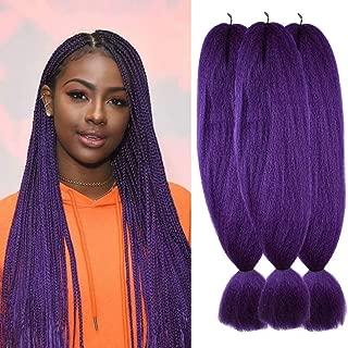 Wome Hair 3Pcs/Lot 24inch Kanekalon Synthetic Jumbo Braiding Hair High Temperature Fiber Crochet Braids Extensions(Purple#,24