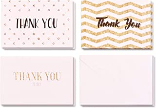 Boxed Pack of 24 Thank You Greeting Cards with Envelopes, 3 Elegant and Attractive Designs, 8 Cards of Each Design, High Quality 15cm by 10cm Cards