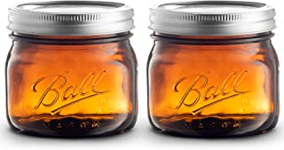 Ball Amber Glass Wide Mouth Mason Jars (16 oz/Pint) With Airtight lids and Bands - Amber Canning Jar - UV light Protection - Microwave & Dishwasher Safe. + SEWANTA Jar Opener (2 Pack)