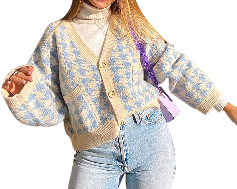 Sdencin Women Houndstooth Knitted Button-up Crop Cardigan Y2K Vintage V Neck Loose Long Sleeve Sweater Jumper Preppy