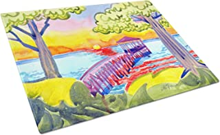 Large Multicolor Carolines Treasures JMK1197LCB Zebras Glass Cutting Board