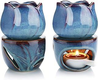 ComSaf 陶器製 アロマポット アロマディフューザー アロマキャンドルスタンド キャンドルホルダー アロマライト チューリップ型 お部屋飾り ブルー 2点セット
