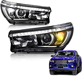 MOSTPLUS LED Updated Headlights Front Lamps for Toyota Hilux Revo 2016 2017 Assembly (Set of 2)