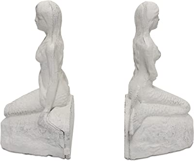 Basic Fundamentals Mermaid Bookends in a Classic White Ivory Finsh