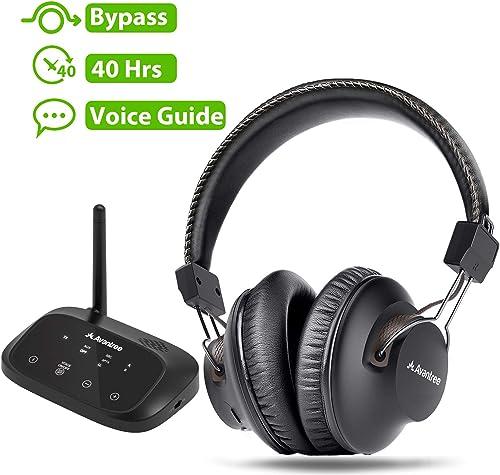Avantree HT5009 Wireless Headphones for TV Watching w/ Bluetooth Transmitter 164ft Range - Digital OPTICAL RCA AUX, H...