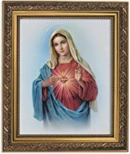 Gerffert Collection Sacred Heart of Mary Framed Portrait Print, 13 Inch (Ornate Gold Tone Finish Frame)